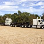 Semi truck with trailer attached